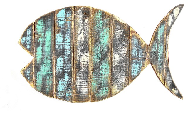 Rustic Wood Fish Wall Art.