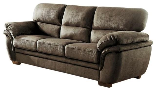 Transitional Style Microfiber Sofa, Dark Brown