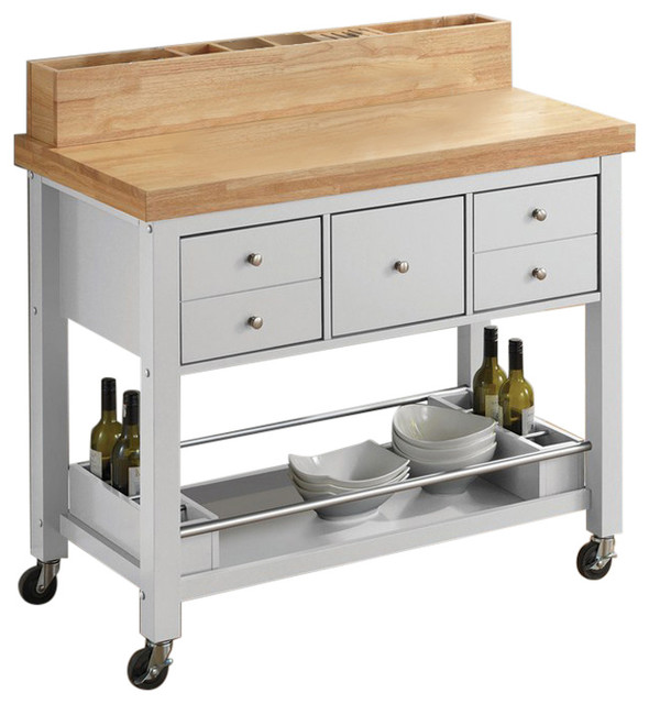 Kitchen Carts Kitchen Island With Casters, White.