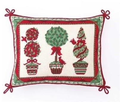 Peking Handicraft, Inc. Peking Handicraft Christmas Trim A Tree Green Needlepoint Pillow ...