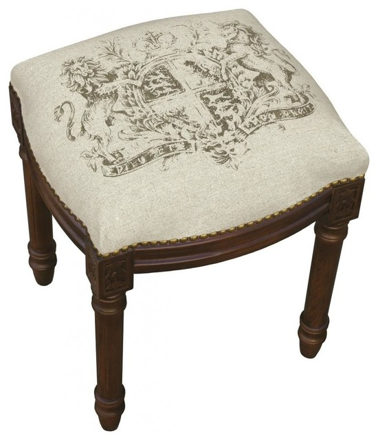 Crest Printed Linen And Wooden Stool Wood Stain Finish