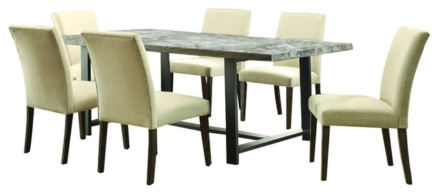 Homelegance Anacortes 7 Piece Rectangular Dining Room Set In Burnished Natura