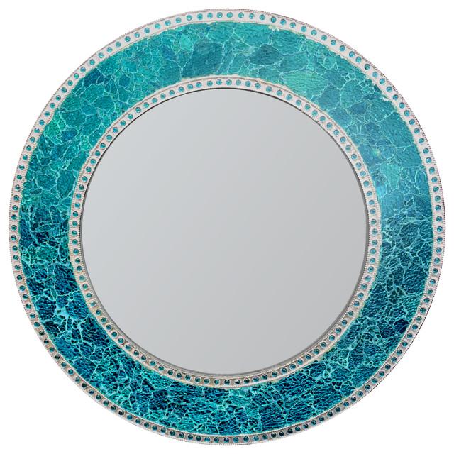 "Decorative Round Framedwall Mirror Glass Mosaic, 24"", Ocean Blue."