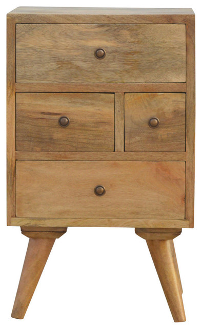 4-Drawer Petite Bedside Table, Oak Finish Mango Wood