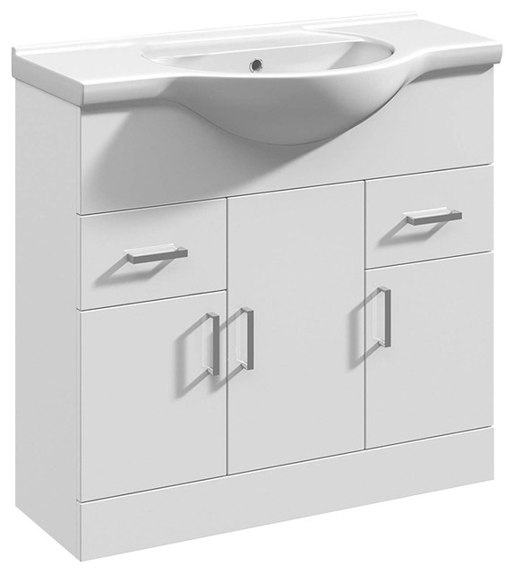 Modern Vanity Unit Basin Sink, White Ceramic and MDF With 3 Door and 2 Drawer