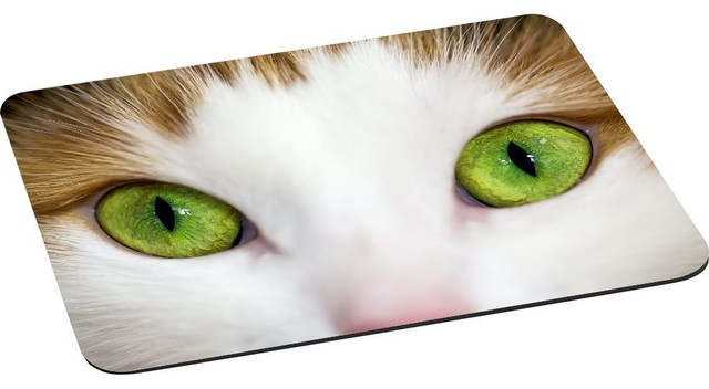 Rikki Knight Llc Close Up Of Lime Green Eyed Cat Mouse Pad