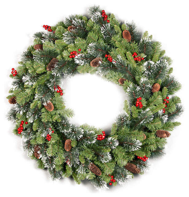 """36"""" Crestwood Spruce Wreath With Cones, Glitter and Red Berries"""