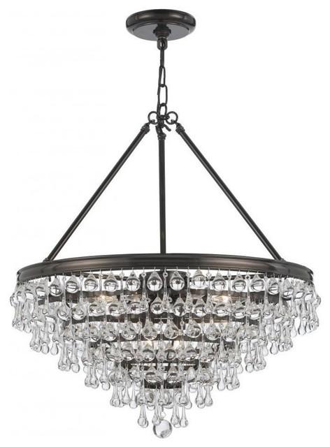 Crystorama Calypso 8 Light Crystal Teardrop Bronze Chandelier contemporary- chandeliers