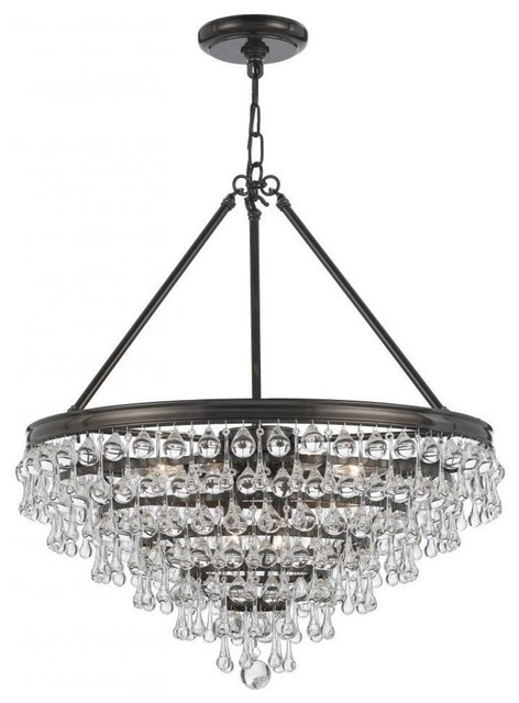 Crystorama Calypso 8 Light Crystal Teardrop Bronze Chandelier