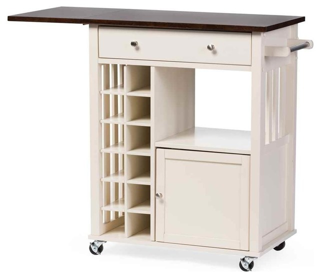 Fermont Rolling Kitchen Cart White And Brown Pantry And Cabinet