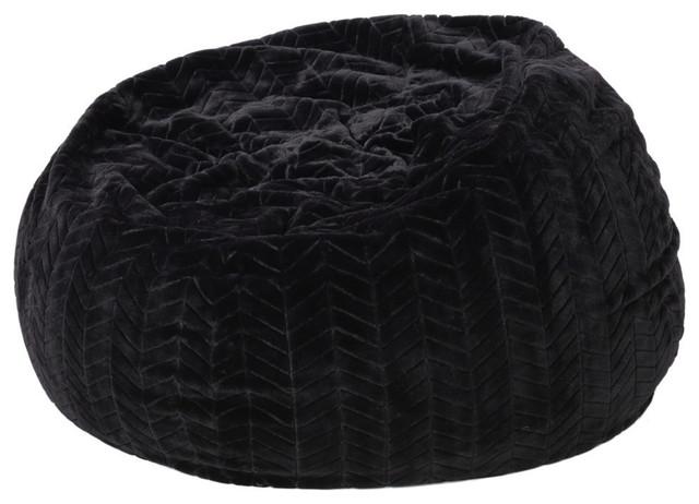 Cool Gdf Studio Meridian Black Fur Fabric Bean Bag Evergreenethics Interior Chair Design Evergreenethicsorg