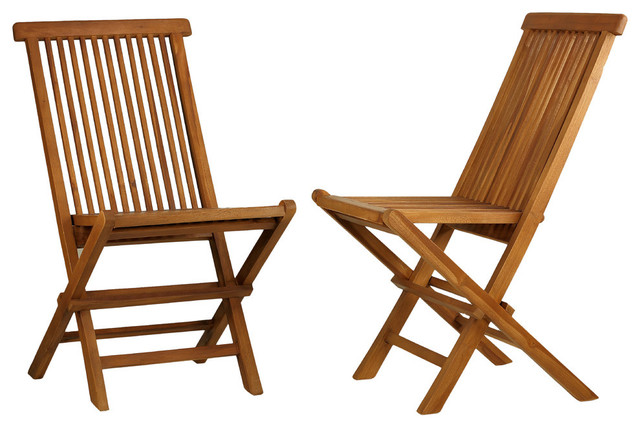 Tanzer Teak Outdoor Folding Chairs, Set Of 2.