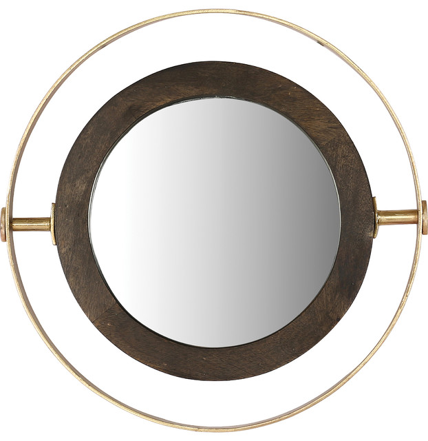Renwil Kyndal Brass And Black Wood And Iron Framed Wall Mirror.