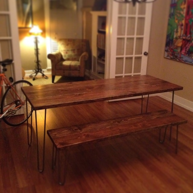 6ft hairpin leg dining table and matching bench - modern - dining 6ft Dining Table