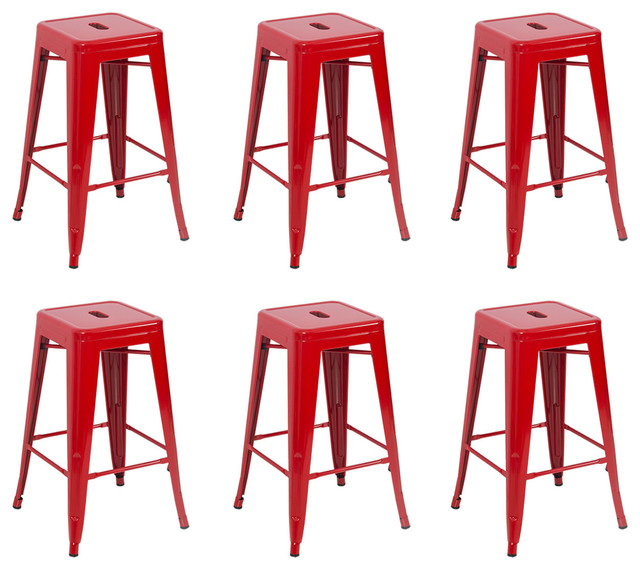 """26"""" Metal Stackable Vintage-Style Counter Stools , Set of 6, Red"""