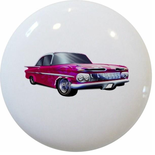 Pink Hot Rod Car Ceramic Cabinet Drawer Knob