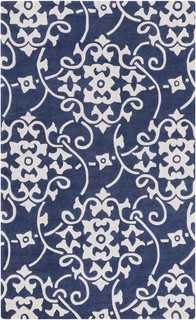 Cosmopolitan Medallions And Damask Navy White Area Rug 2