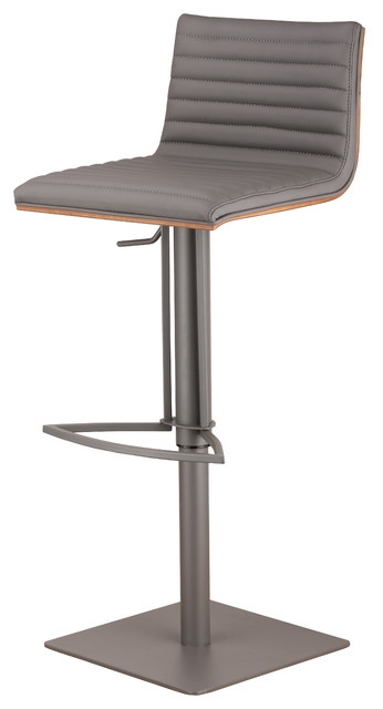 Cafe Adjustable Gray Metal Barstool In Gray Pu With Walnut