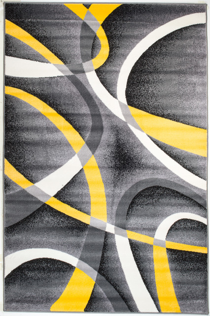 Summit Gray Abstract Area Rug With Yellow And White Lines Design H21