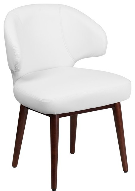 Prime Silkeborg Curved Back White Leather Side Chair With Walnut Legs Ncnpc Chair Design For Home Ncnpcorg
