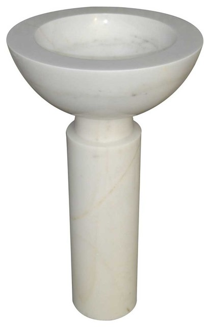 Deluxe Stone Round Pedestal Sink Marble Hand Carved