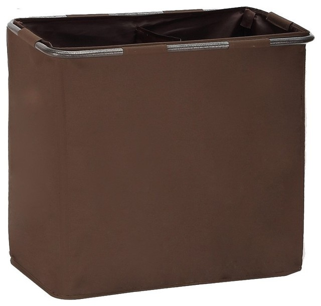 Storagemaniac 2-Compartment Polyester Canvas Free-Standing Laundry Hamper.