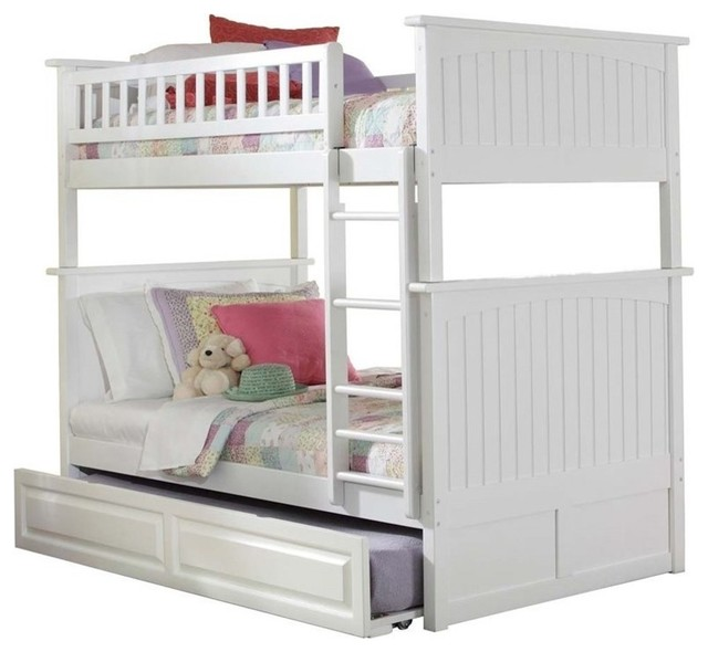 Atlantic Furniture Nantucket Twin Over Twin Trundle Bunk Bed, White.