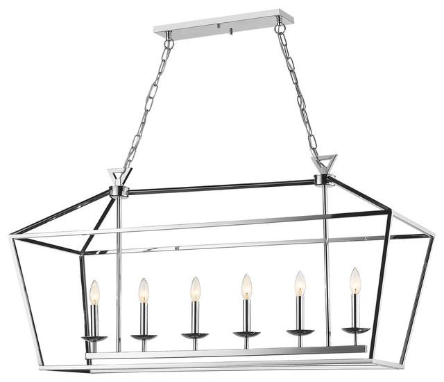 Shiny Nickel Rectangular Cage Light