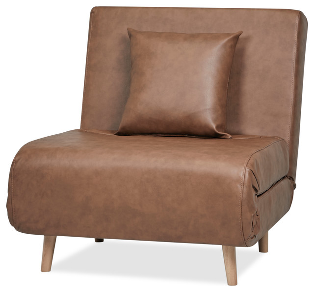 Vista PU Leather Convertible Chair Bed, Nutmeg