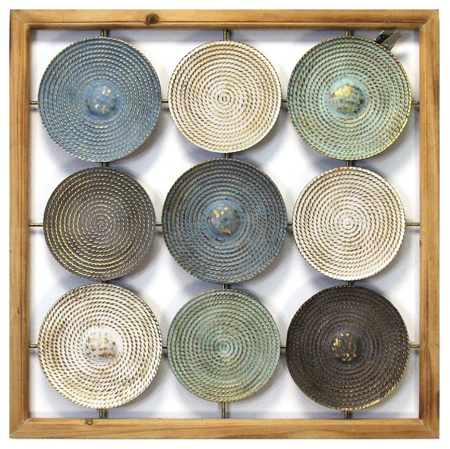 Stratton Home Decor Wood Frame And Metal Plates Wall Art Farmhouse Wall Accents By Stratton Home Decor