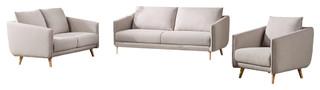 Divani Casa Dakota Modern Beige Fabric Sofa 3-Piece Set