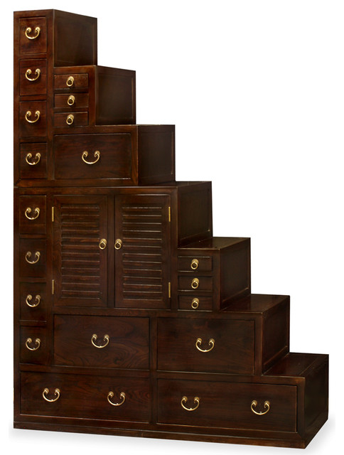 Elmwood Japanese Style Step Tansu Asian Accent Chests