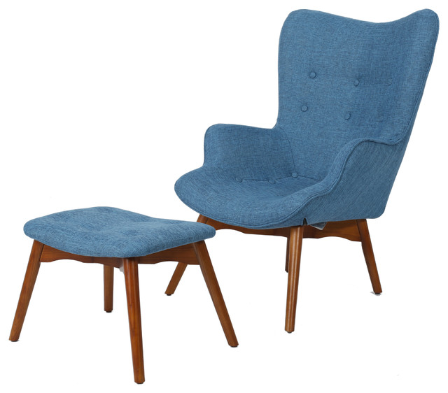 Acantha Mid Century Modern Contour Chair With Footstool Muted Blue