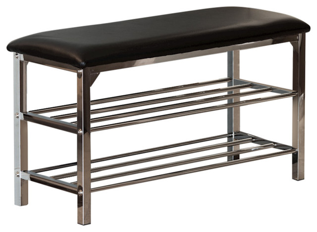 Danya B Black Leatherette Storage Entryway Bench With Chrome Frame.