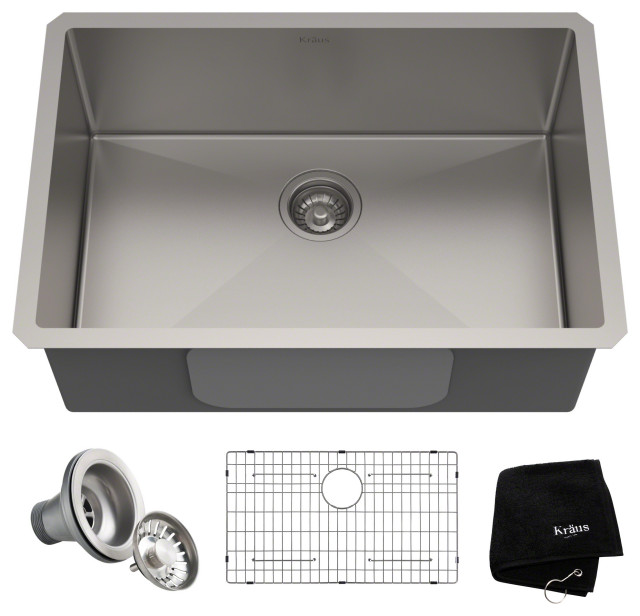 "28"" Undermount Stainless Steel Kitchen Sink, Single Bowl 16 Gauge"