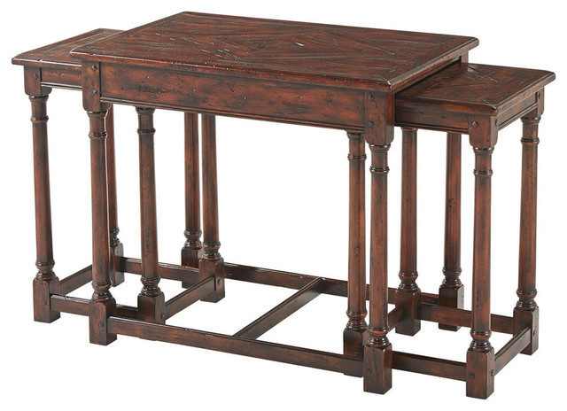 Jacobean Antiqued Wood Parquetry Nest Of 3 Tables Traditional Coffee Table Sets By English