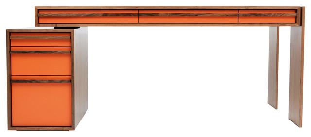 Bloc Walnut Writing Desk, Orange.