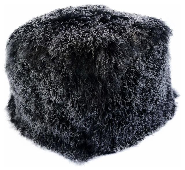 Lamb Fur Pouf, Natural.
