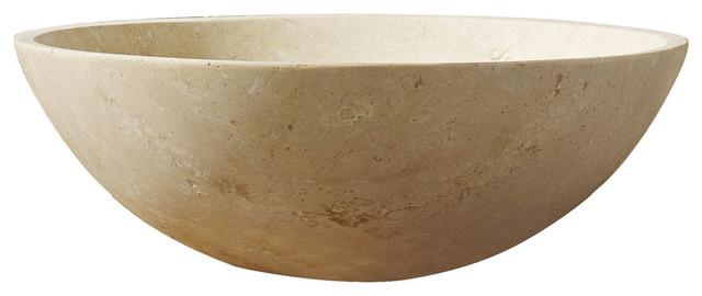 Nyx Natural Stone Bathroom Vessel Sink In Beige Travertine Marble.