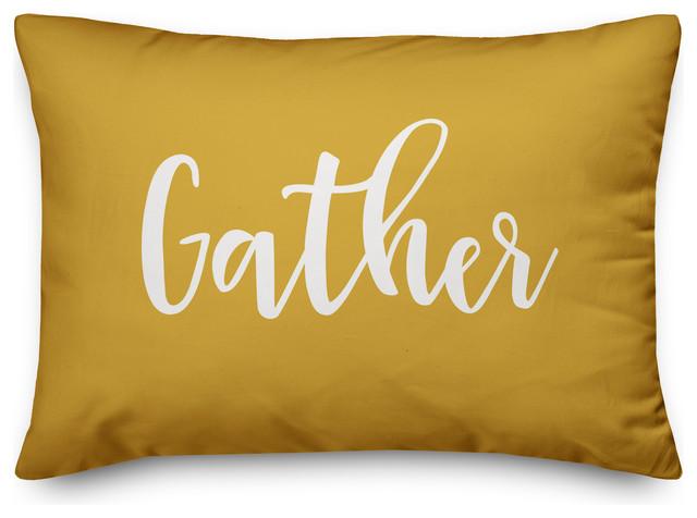 """Gather Lumbar Pillow, Mustard, 14""""x20"""""""