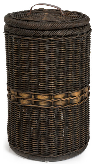Tall Wicker Trash Basket With Metal Liner, Antique Walnut Brown
