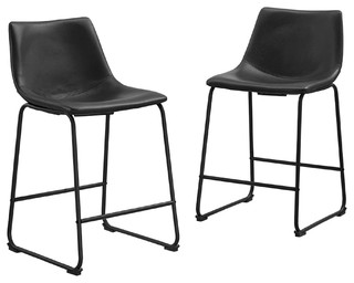 Faux-Leather Bar Stools, Set of 2, Black
