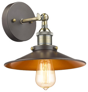 Ironclad 1-Light Wall Sconce, Rubbed Bronze - Industrial - Wall Sconces - by CHLOE Lighting, Inc.