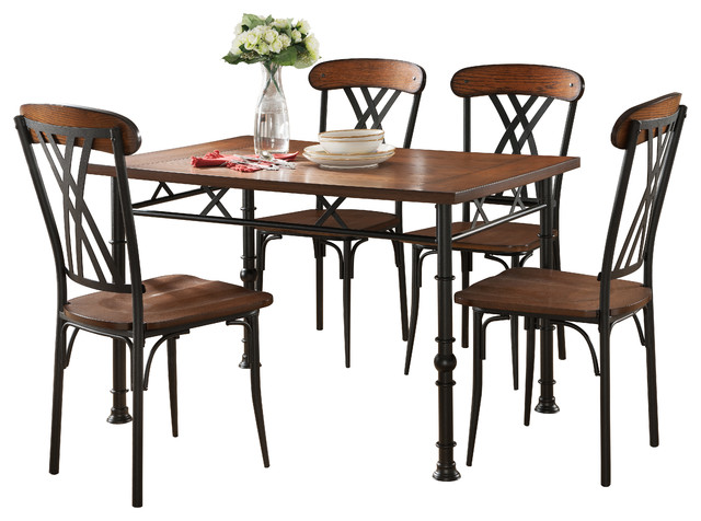 Cruz 5 Piece Dining Set, Black Ash Traditional Dining Sets