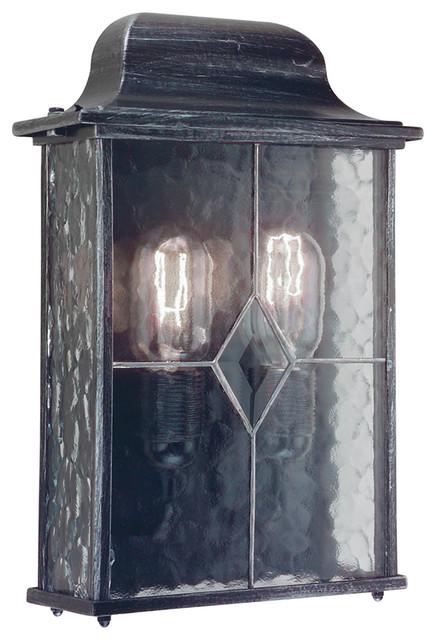 Traditional Outdoor Half Lantern, Black Silver