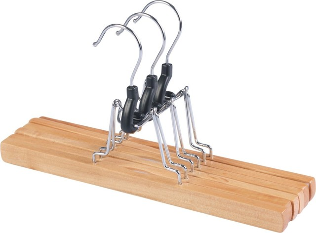 Closet Spice Wood Pant Hanger Withclamps In Natural, Set Of 4.
