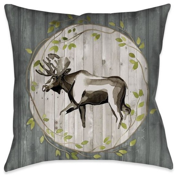Woodland Moose Indoor Decorative Pillow Rustic Decorative Pillows By Laural Home