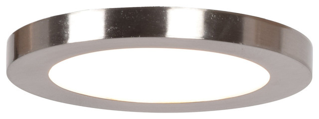 Disc 5.5 Led Round Flush Mount, Brushed Steel Finish, Acrylic Lens.