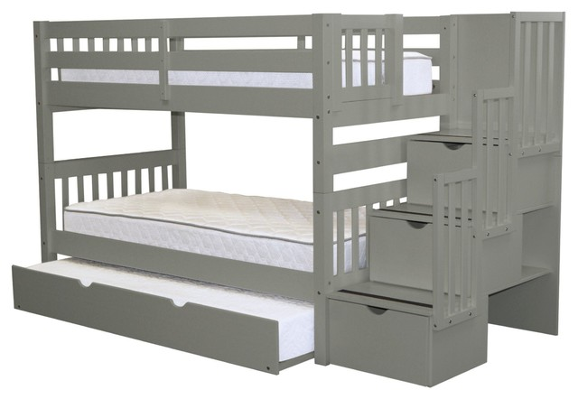 Bedz King Bunk Beds Twin Over Twin Stairway 3 Step Drawers Twin