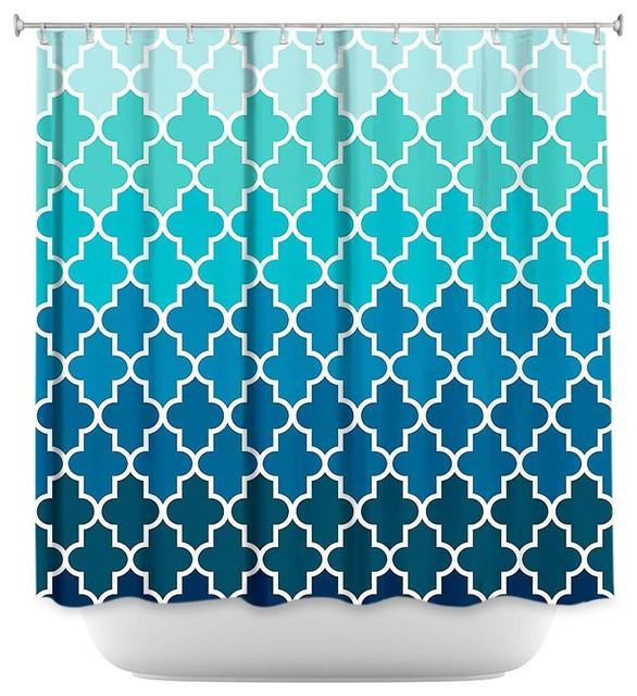 Shower Curtain Unique from DiaNoche Designs - Aqua Ombre Quatrefoil ...
